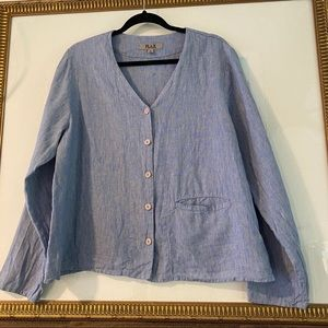 SOLD Flax Blouse Jacket Top Buttondown Pocket